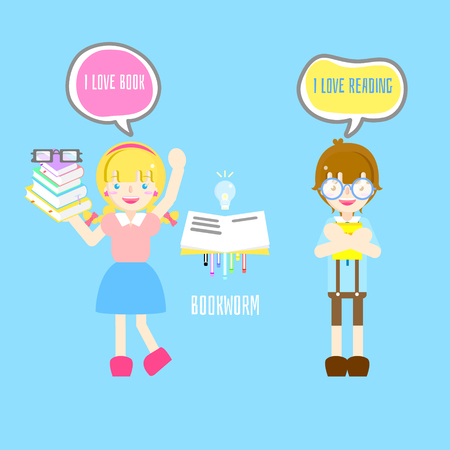 cute bookworm boy and girl with I love book and reading text box speech bubble in blue background flat vector illustration cartoon character costume design
