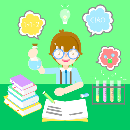 cute bookworm boy learning concept with colorful text box speech bubble in green background flat vector illustration cartoon character costume design