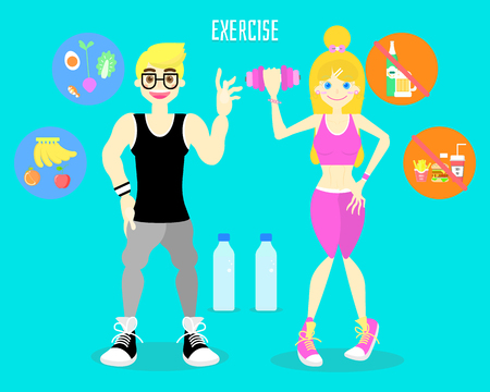 activity fitness body building work out healthy body with man and woman, exercise and sport concept in blue background
