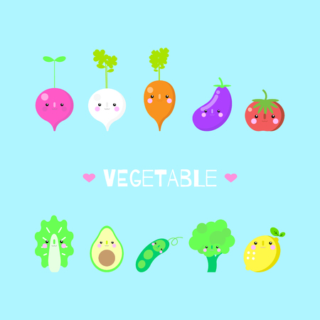 group of cute vegetable icon set healthy eating lifestyle concept,flat vector illustration cartoon character design Illustration