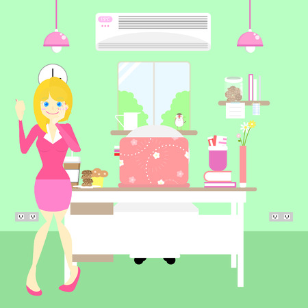 happy office worker woman with pink interior design in green background,flat character design vector illustration concept Illusztráció