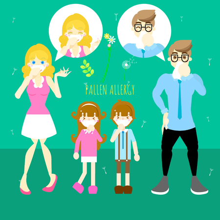 man and woman with boy and girl sneezing, pollen allergy concept, flat vector illustration character design Illustration