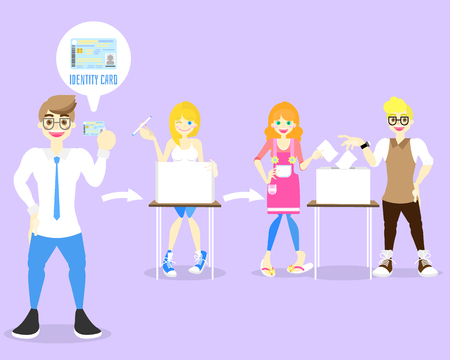 Election candidates and voting nationals concept with adult man and woman, flat vector illustration cartoon character design clip art