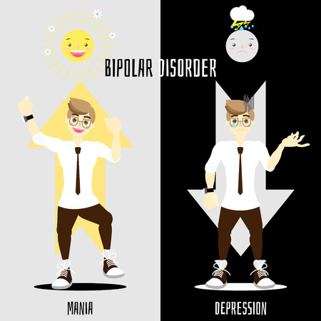 world bipolar disorder day with man having mania and depression mood phase concept, vector illustration cartoon flat character design clip art