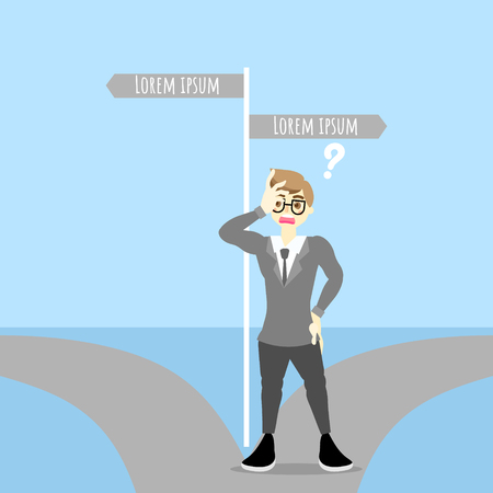 Businessman make a decision standing on the two pathways with road sign, background flat character design vector illustration clip art Ilustração