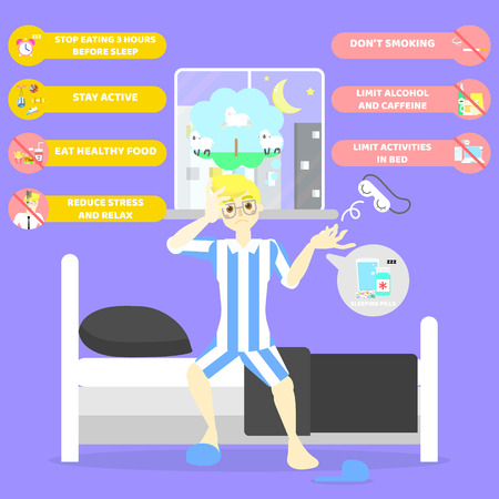 Man lying on bed, counting sheep, health care sleeplessness disorder insomnia infographic concept, background,vector illustration cartoon flat character design clip art