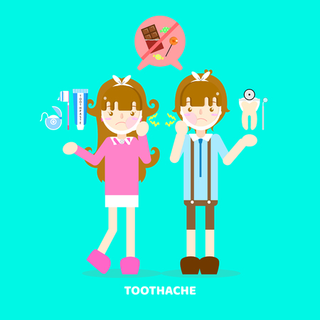 boy and girl have a toothache, dental care concept, flat vector illustration character design clip art
