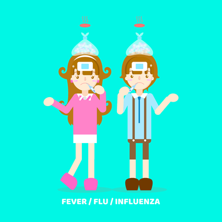 boy and girl having fever, cold, flu , influenza, coughing, sneezing, health care symptoms concept, vector illustration cartoon flat character design clip art