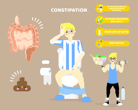 man sitting on flush toilet with constipation, large and small intestine,internal organs anatomy body part, health care infographic diagram concept, vector illustration cartoon flat character design