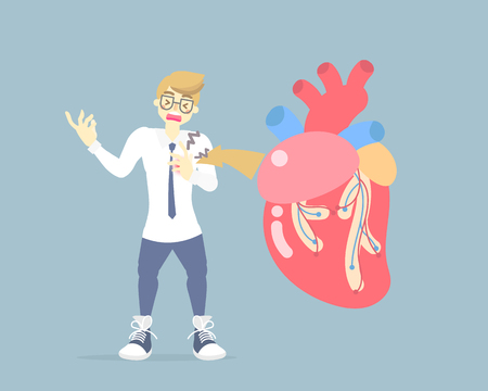 man with heart attack disease, medical internal organs body part nervous system anatomy surgery human heart healthcare, flat vector illustration cartoon design clip art