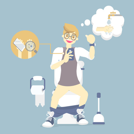 man sitting on flush toilet, using mobile phone with bacteria, thinking about wash his hands, health care, sanitation concept, infographic vector illustration cartoon flat character design