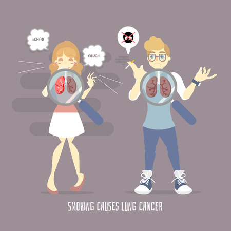 world no tobacco day lung cancer health care with man holding cigarette, smoking and woman coughing, sneezing, air pollution, anatomy concept,flat vector illustration cartoon character design Illusztráció