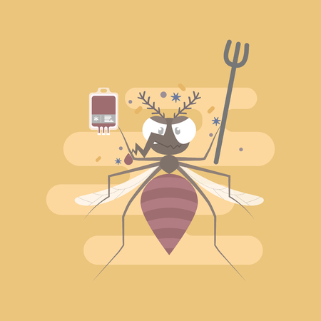 mosquito with blood bag and virus, bacteria, flat character design clip art vector illustration cartoon Illustration