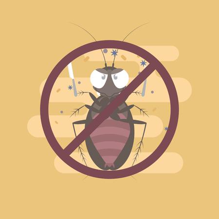 cockroach holding fork and knife, pest control concept, flat character design clip art vector illustration cartoon sign logo
