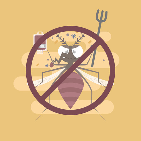 mosquito with blood bag and virus, bacteria, pest control concept, flat character design clip art vector illustration cartoon sign