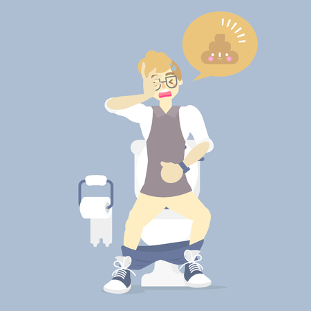 man using flush toilet, having stomach ache, suffering from diarrhea or constipation, health care, sanitation concept, flat character design clip art vector illustration cartoon