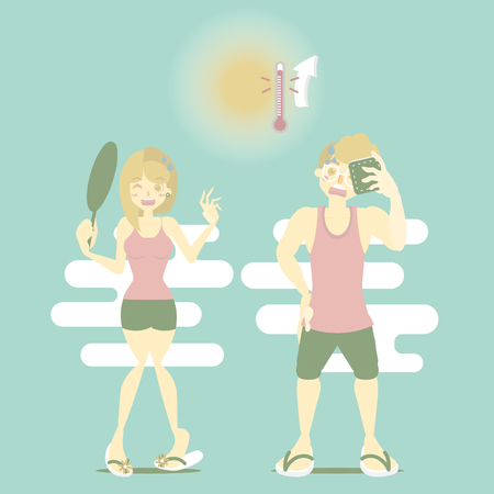 summer time holiday vacation season with man and woman sweating in hot temperature, perspiration concept, flat cartoon character design, vector illustration Illustration