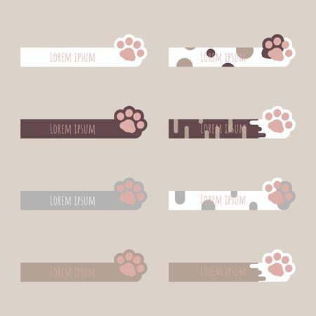 Set of cute pastel text box, speech bubble, balloon, talk, think, template,flat,design,vector,illustration banner frame with animal pet cat paw footprint
