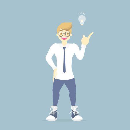 businessman standing with light bulb lamp, having idea creative instpiration concept, flat vector illustration character cartoon design clip art Illustration