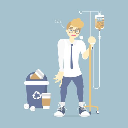 sleepy businessman holding IV (intravenous) stand with coffee infusion drip bag and recycle bin, coffee addict, health care concept, flat vector illustration character cartoon design