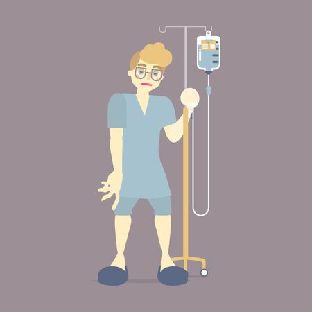 Paciente masculino triste sosteniendo soporte IV (intravenoso) con sangre, bolsa de goteo de solución salina, cirugía, concepto de atención médica, diseño de dibujos animados de personajes de ilustración vectorial plana