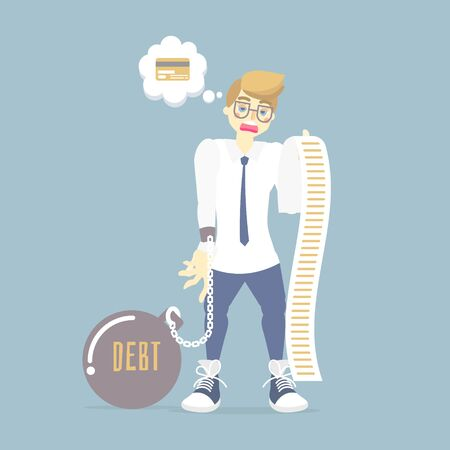 sad man holding and looking at a long credit card bill, tax, debt concept, flat vector illustration cartoon character design,isolated infographic