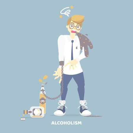alcoholic drunk man vomiting, having dizziness, holding bottle of alcohol, health care disease, alcoholism concept, flat character design clip art vector illustration Vektorové ilustrace