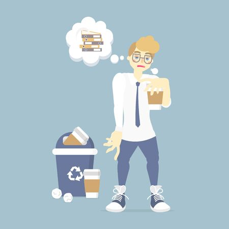 sleepy, tired businessman holding coffee with recycle bin, thinking about a lot of work, health care concept, vector illustration cartoon flat character design Vectores