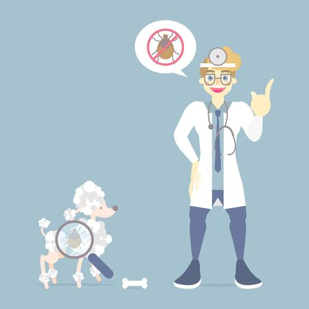 veterinary medicine and lovely animal health care with doctor and poodle dog, pet pest control concept, flat vector illustration cartoon character design