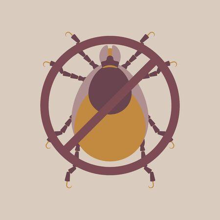 dog and deer tick, pet pest control concept, flat character design clip art vector illustration cartoon sign logo Illustration