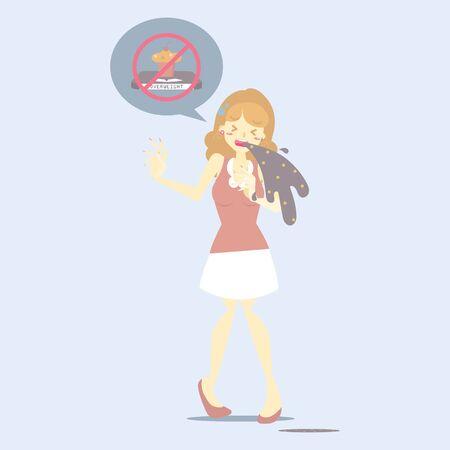 diet woman vomiting, health care disease symptoms, bulimia, anorexia concept, flat vector illustration cartoon character design clip art