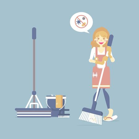 Female housekeeper, woman holding broom with mop, bucket, chore, cleaning concept, flat cartoon character design vector illustration