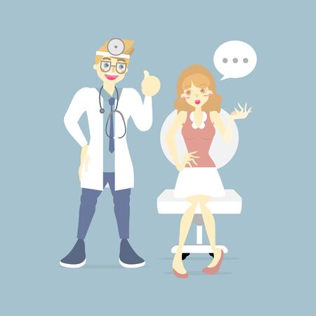 phychiatrist listening to female patient, doctor, health care, medical examination concept, flat character design clip art vector illustration