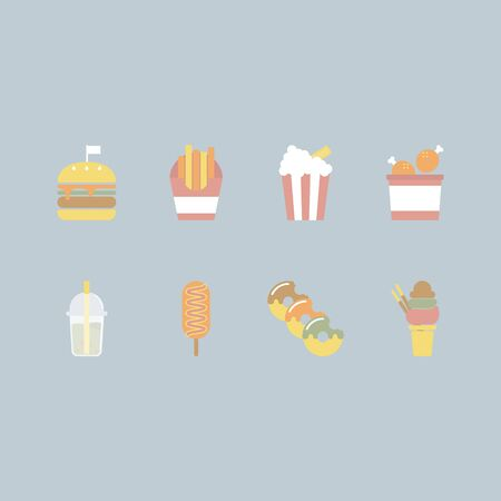 collection pack icon group set of minimal fast food, logo label, vector illustration cartoon flat design