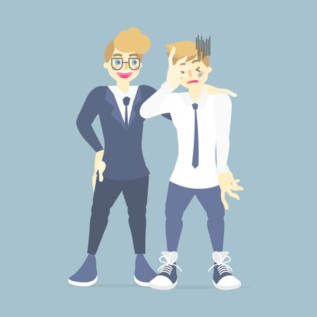 two businessman in suit, happy man giving support help to sad friend, colleague, coworker, encourage concept, flat vector illustration character cartoon design clip art