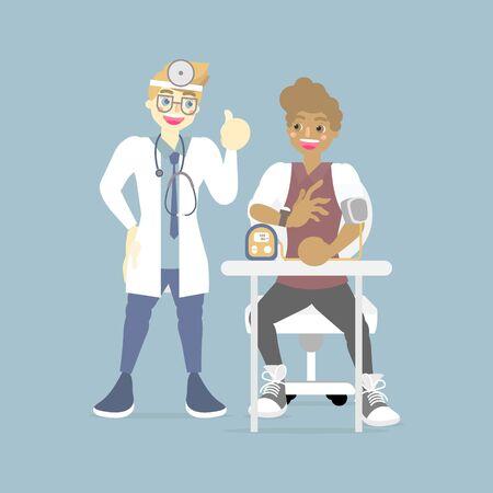 männliche Arztkontrolle, fürsorgliche Messung des Blutdrucks für afroamerikanische Patienten, Gesundheitswesen, medizinisches Untersuchungskonzept, flache Charakterdesign-Clip-Art-Vektorillustration Vektorgrafik