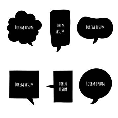 collection set of black and white speech bubble balloon, think, speak, talk, template, art, flat, design, vector, illustration, text box banner frame