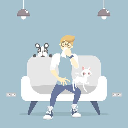 man coughing, sneezing, having allergic to pet with cat and dog, fur and wool allergy concept, flat vector illustration character design clip art