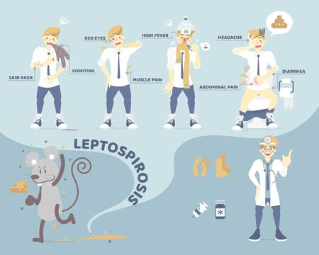 symptoms of leptospirosis, people having diarrhea, headache, vomiting with rat spread pee and germ, health care concept, flat character design vector illustration cartoon infographic