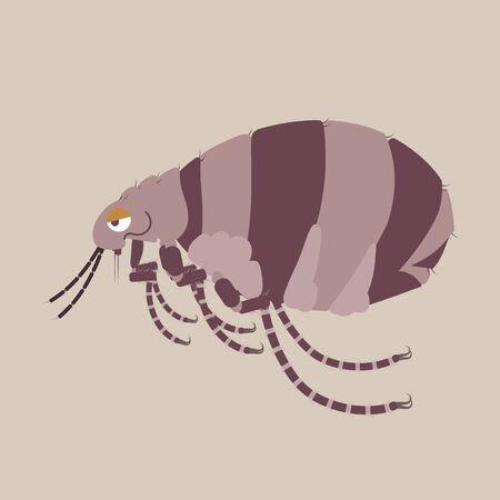 flea dog and cat, germ, pet pest control concept, flat character design clip art vector illustration cartoon sign logo