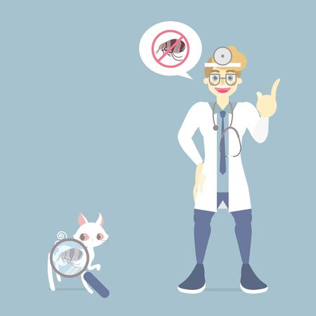 veterinary medicine and lovely animal health care with doctor and cat, how to removing flea, pet pest control concept, flat vector illustration cartoon character design