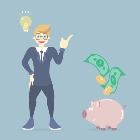 happy, smiling businessman in suit standing with light bulb lamp, piggy bank and money, having idea creative inspiration concept, flat vector illustration character cartoon design clip art Illustration