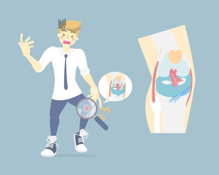 man having knee arthritis, anatomy and bone, medical internal organs body part nervous system, health care concept, vector illustration cartoon flat character design clip art