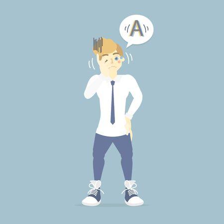 man having blurry vison, eye health care, world sight day concept infographic, vector illustration cartoon flat character design clip art