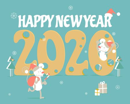 merry christmas and happy new year, rat zodiac sign, snowflake with 2020 cheese text design in green background, winter season, flat vector illustration cartoon character costume greeting card