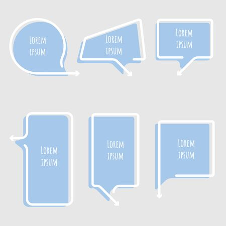 collection set of speech bubble balloon with arrow point, think, frame, border, speak, talk, template, text box banner frame, flat design vector illustration
