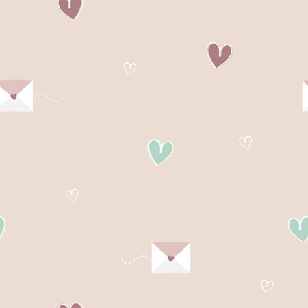 seamless minimal cute, sweet, pastel hand drawing love letter and heart shape repeat pattern in pink background, valentines day concept, flat vector illustration design