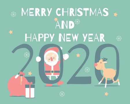 merry christmas and happy new year 2020 with cute santa claus, snowflake, star, reindeer in the winter season green background, flat vector illustration cartoon character costume design