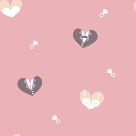 seamless minimal cute, sweet, pastel hand drawing bride and groom heart shape with diamond ring repeat pattern in pink background, valentines day, wedding concept, flat vector illustration design