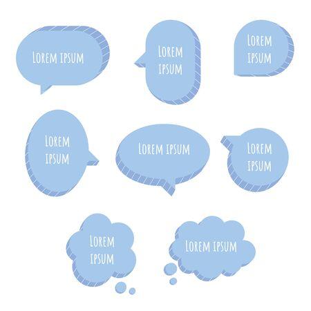 collection set of cute blue pastel 3D speech bubble balloon think, speak, talk, template, text box, flat design vector illustration